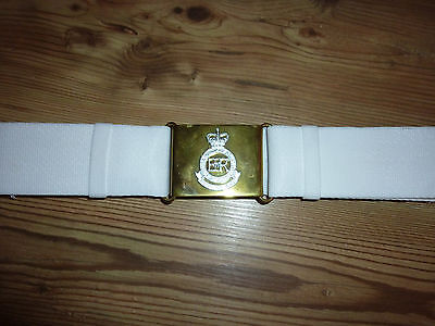 Royal Military Academy Of Sandhurst White Courlene Belt With Brass Buckle