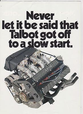 TALBOT SUNBEAM LOTUS Brochure plus Dealer List - 1979