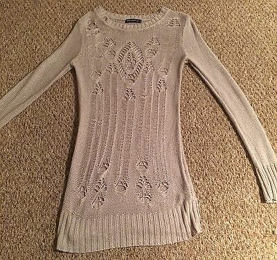 Ladies Grey Long Jumper/dress With Ripped Detail Size 8
