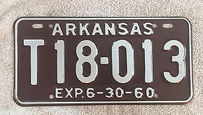 Near Mint  To Mint Original 1960 Arkansas License Plate FREE SHIPPING