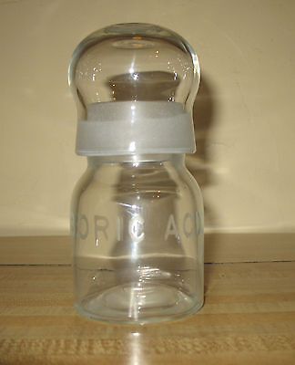 Antique Boric Acid Pharmaceutical Apothecary Etched Bottle Bubble Lid