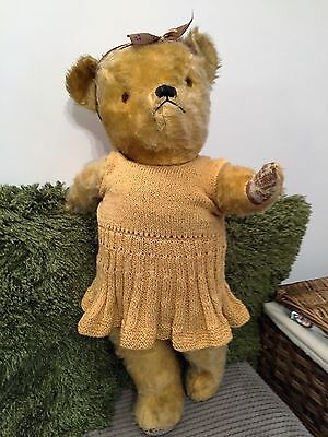 Grumpy Daisy! x - Large Old Vintage Pedigree Teddy Bear - clothes growl -Antique
