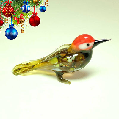 VIDEO! Glass figurine woodpecker blown glass Murano dollhouse miniature toy OOAK