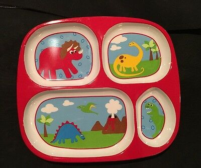 Baby Cie Divider Plate Red Dino  Learning TV Tray