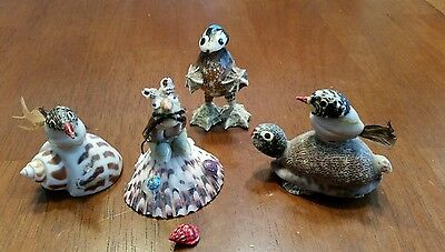 Vintage Made In Japan Sea Shell Lot Bird Figurine Mouse Shell Art