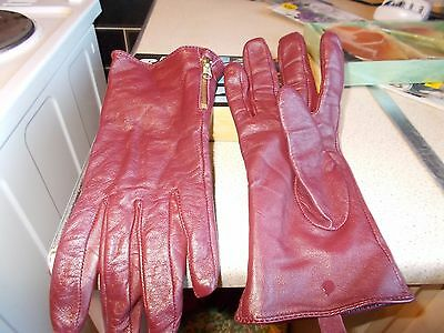 Ladies Wine Soft Real Leather Driving Gloves Side Zip Med