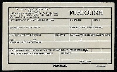 1944 US ARMY Furlough Form #31 Unused