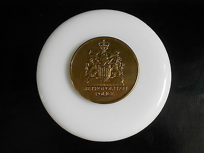 Metropolitan Police White Glass Paperweight Centre Brass Disk