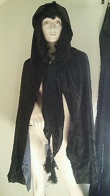 Antique Victorian Embroidered LRG Tassels & Embroidered Hooded Mourning Cape