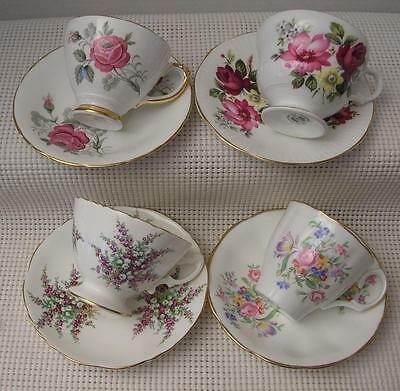 Vintage Lot 4 CHINA TEA CUPS & SAUCERS Delphine Hammersley Rosina Jason England