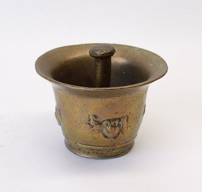 Early Antique Brass Mortar and Pestle Pharmacy/Apothecary Primitive Gunpowder