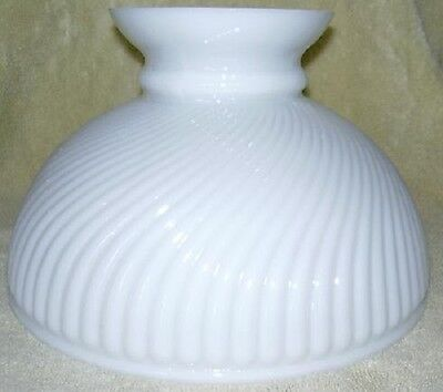 """10"""" Glass SWIRL Shade oil lamp student AMERICAN MADE PT"""
