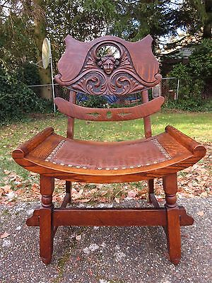 ANTIQUE CARVED OAK GOTHIC SIDE CHAIR Victorian Throne STOMPS BURKHARDT Art Seat