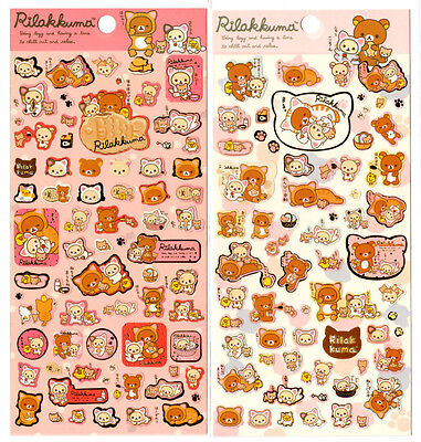 Sanx San-x Rilakkuma Cat Relax Lazy Sticker Sheet stickers kawaii Japan Bear LOT