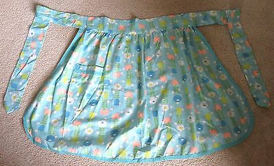 Vintage Half Apron with Pocket Cotton Aqua with Flowers