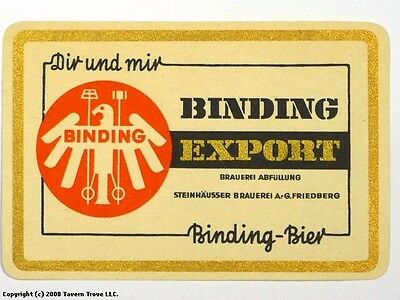 1960s Germany Binding Export Bier Beer Label Tavern Trove