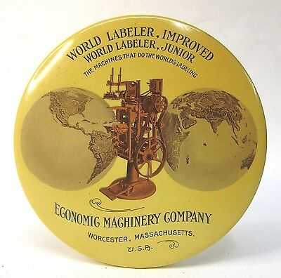 ECONOMIC MACHINERY CO. WORLD LABELER Worcester MASS. paperweight pocket mirror *