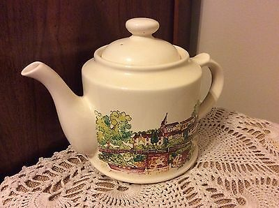 Vintage Large Wade Teapot English Country Side Transferware