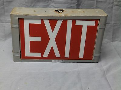 Vtg Art Deco Theater Double Sided Exit Sign Light Fixture Glass Panel Old 21-17E