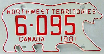 Northwest Territories 1981 Canadian Polar Bear Licence Plate.