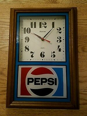 Pepsi Cola Wall Clock by Hanover (B) Nice Wooden Frame