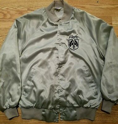 Vintage Racing Jacket Pontiac Fiero Black Coat GM Nice Size Large Rare