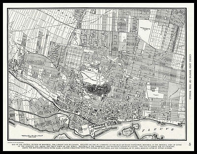 City of MONTREAL Quebec Canada 1945 antique detailed view Plan Map