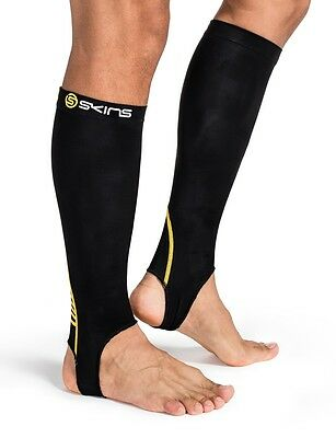 Skins Essentials Compression Unisex Calf Tights With Stirrup BLACK / YELLOW