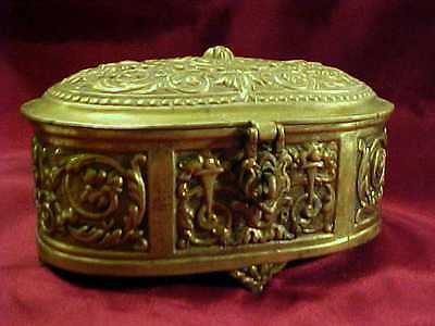Antique Heavy Bronze Brass Belgium Northwind Faces Jewelry Casket Box