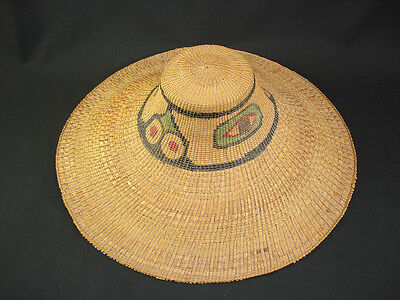 An early and large Haida Northwest Coast Hat, Indian basket, circa: 1900