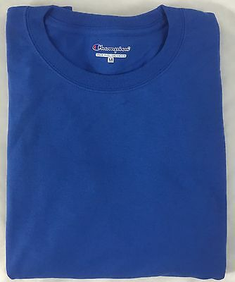 Champion Men ONE Long Sleeve Workout T-Shirt CC8C Ribbed Cuff Blue Size XL