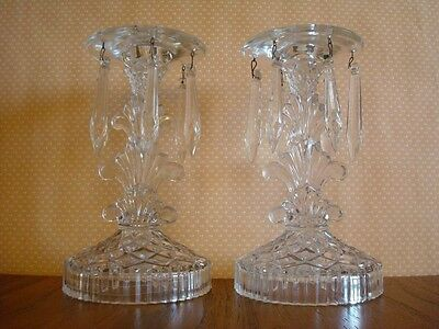 Vintage Pair Glass Candlesticks Hanging Prisms Candle Holders 1950s Mid Century