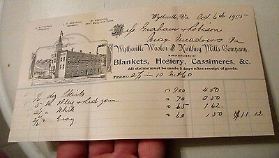 "Collectible 1905 Bill Head ""WYTHEVILLE WOOLEN & KNITTING MILLS CO."" Virginia"