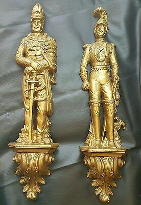 """2 Vtg Burwood Gold & Black Soldiers 25"""" Resin Wall Plaques 1965 Spanish Man Cave"""