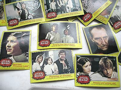 50 Vintage 1977 Yellow Star Wars Cards 14 of Carrie Fisher Princess Leia