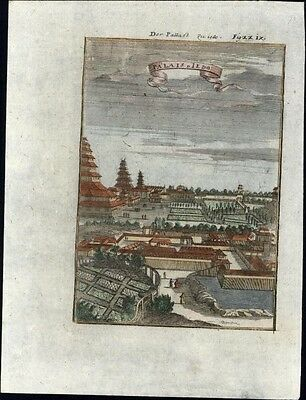 Tokyo Jedo Japan Royal Palace Asia 1719 antique engraved birds-eye view print