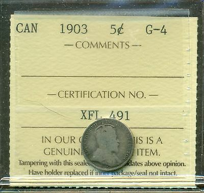 1903 Canada Silver 5 cent ICCS G 4