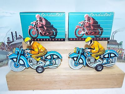 Vintage PAIR of Hungarian Tin Litho Friction Toy Motorcycle with Racer Rider NOS