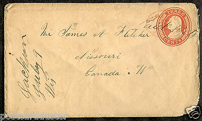 p72 - Postal Stationery Cover 1858 to Missouri Ontario. Ingersoll receiver