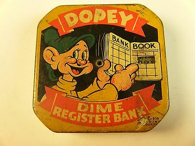 """VERY RARE DISNEY 1939 """"DOPEY"""" DIME REGISTER BANK TIN METAL Lithographic"""