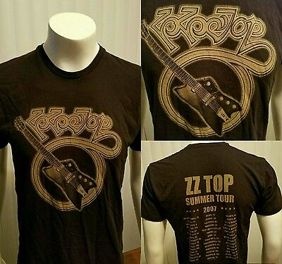 ZZ Top 2007 Summer Tour Band T Shirt Double Sided Classic Rock Tee Large Guitar