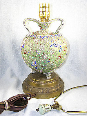 Antique Japanese Nippon Moriage Vase Lamp - Two Handled with Feet