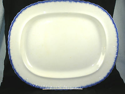 Circa 1850s Oval Blue Feather Edge Platter - Excellent
