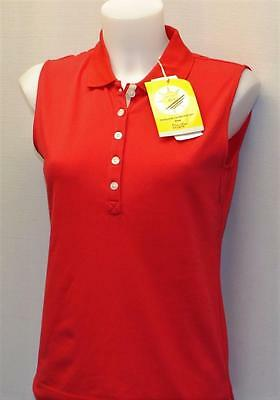 New Ladies Daily Sports  polyester cotton red sleeveles golf polo shirt Medium