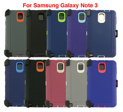 Case Defender Protector Cover For Samsung Galaxy Note 3 [Clip Fits Otterbox]