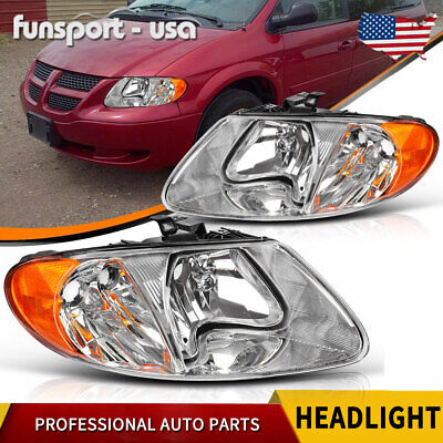 For 01 07 Dodge Caravan Town Country 03 Voyager Chrome Headlights Headlamps