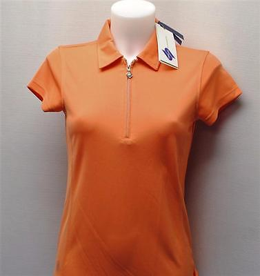 New Ladies Daily Sports cap sleeves zip polyester golf polo shirt  Small