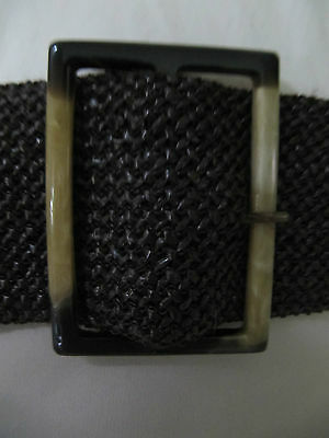 NWOT Wide brown braided belt faux tortoise shell buckle Small/Medium or Large