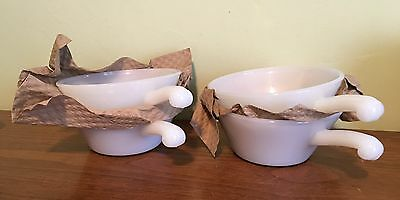 4 MINT Vintage Fire King White Milk Glass Soup Cereal Bowls w Handle