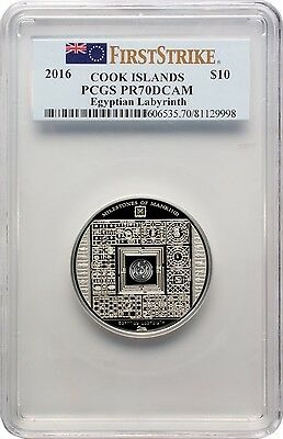 2016 $10 Cook Islands Egyptian Labyrinth Silver Proof Coin PCGS PR70DCAM FS